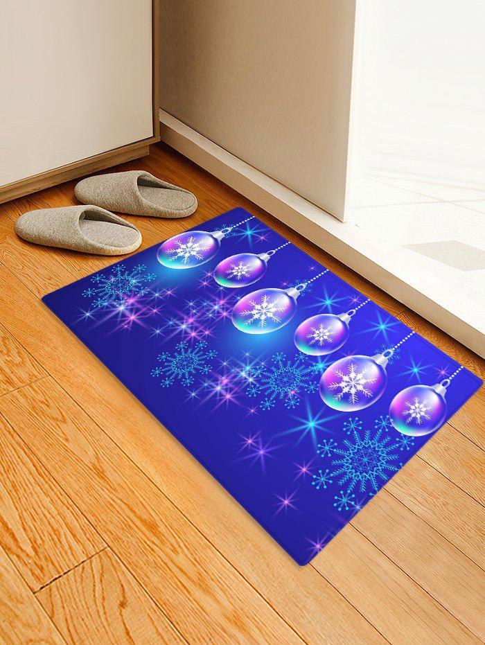 Christmas Ball and Snowflake Printing Non-slip Area Rug - BLUEBERRY BLUE W16 X L24 INCH
