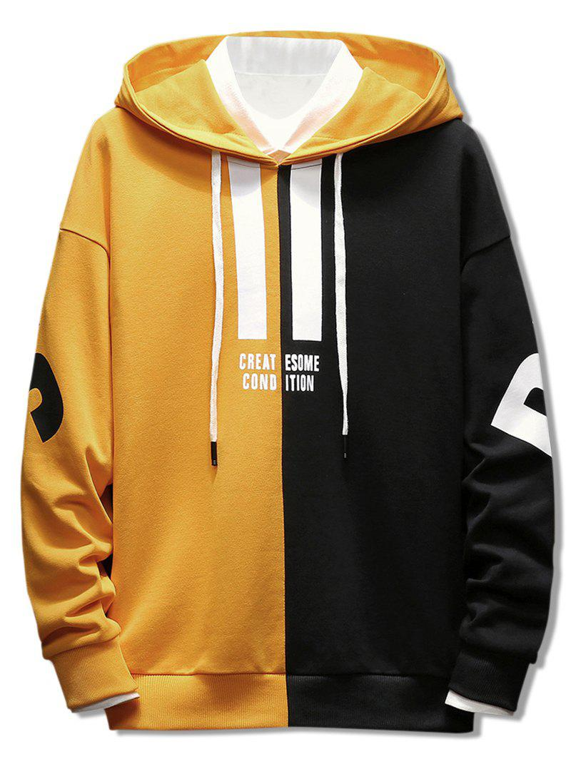 Contrast Color Letter Drawstring Hoodie - BRIGHT YELLOW 3XL
