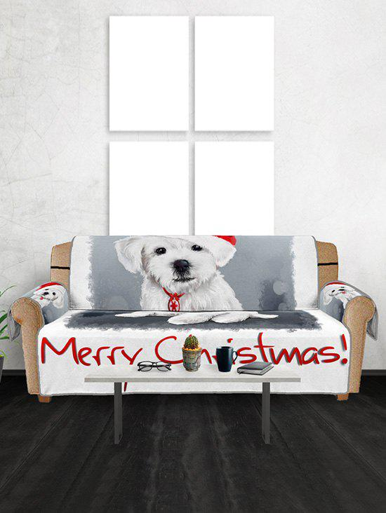 Merry Christmas Dog Pattern Couch Cover - WHITE THREE SEATS