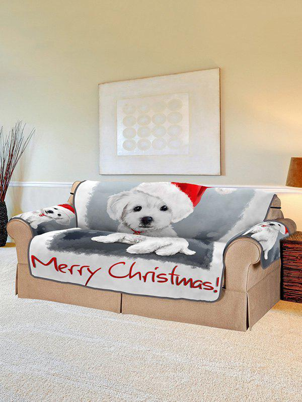 Merry Christmas Dog Pattern Couch Cover - WHITE TWO SEATS
