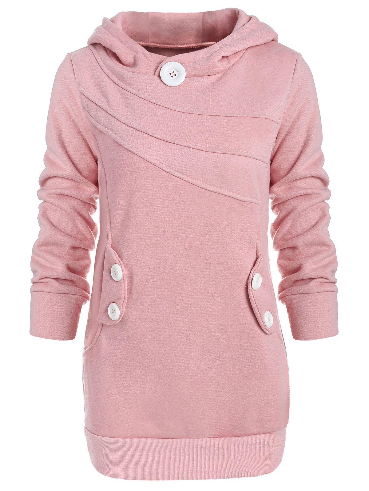 Hooded Button Pocket Splicing Long Sleeves Thickened Loose-Fitting Women's Hoodie - PINK ONE SIZE