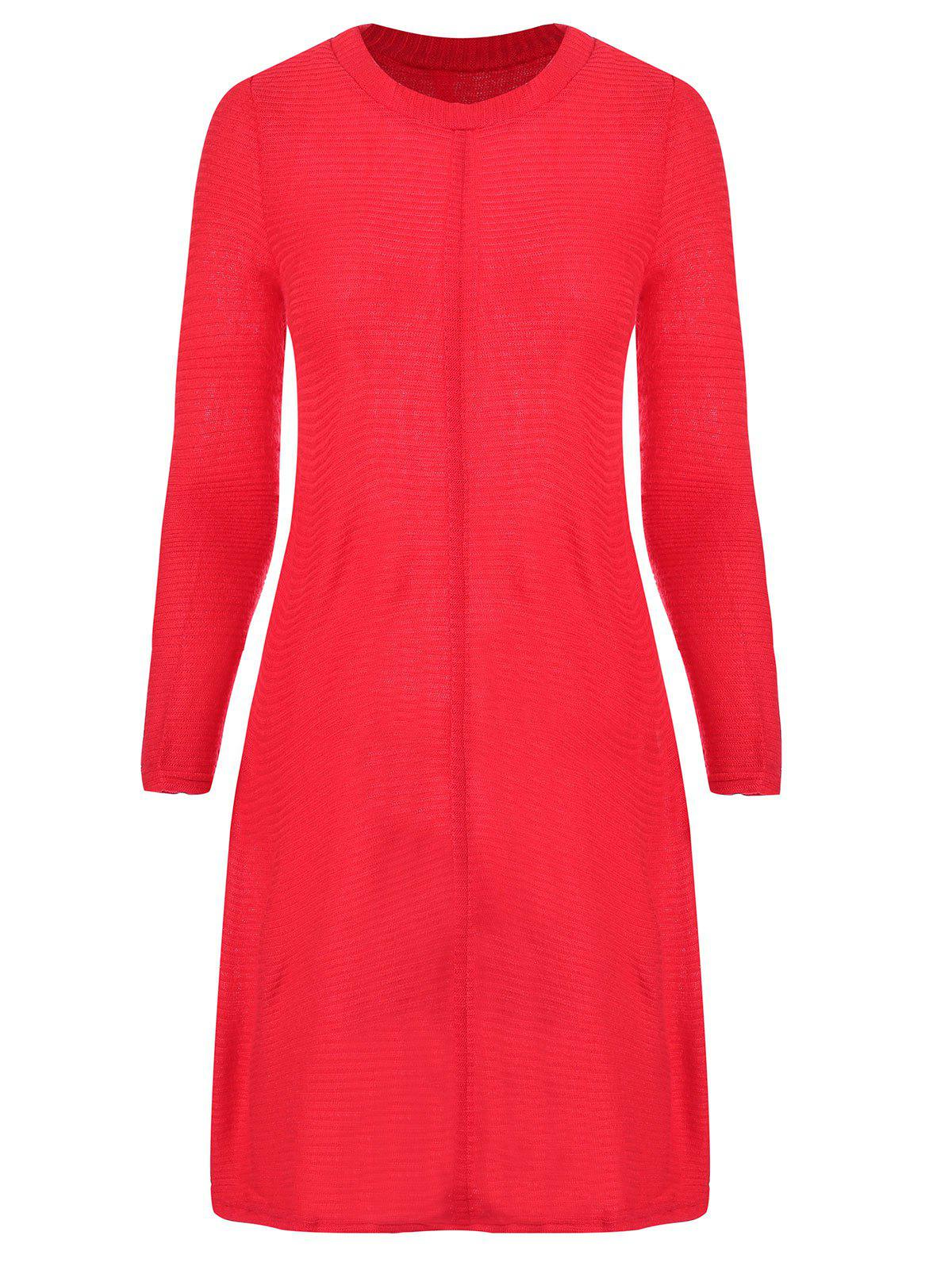 Round Collar Long Sleeve Knitted Dress
