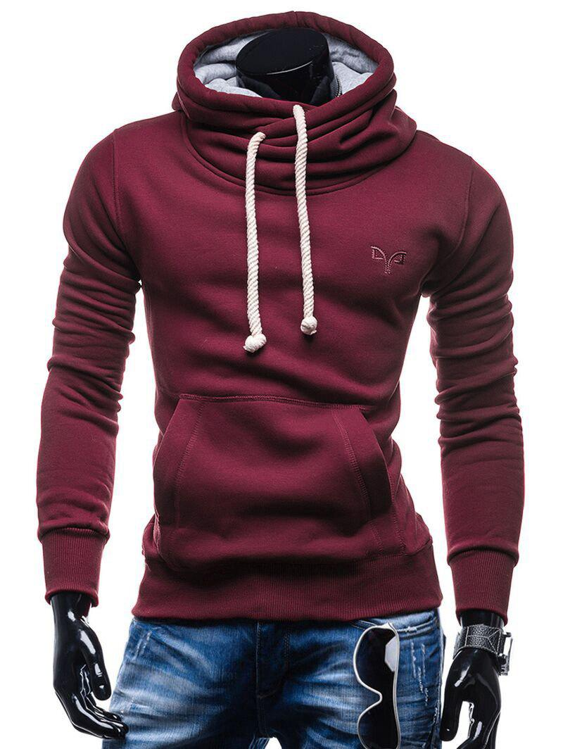 Whole Colored Drawstring Casual Hoodie - RED WINE M