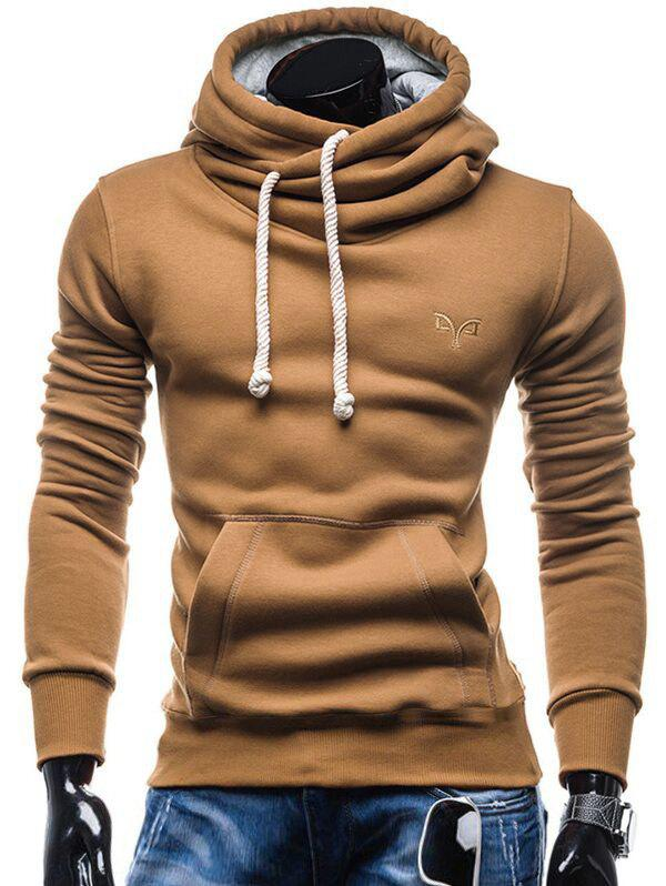 Whole Colored Drawstring Casual Hoodie - CAMEL BROWN L