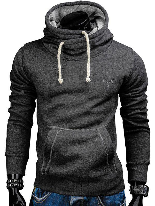 Whole Colored Drawstring Casual Hoodie - CARBON GRAY 2XL