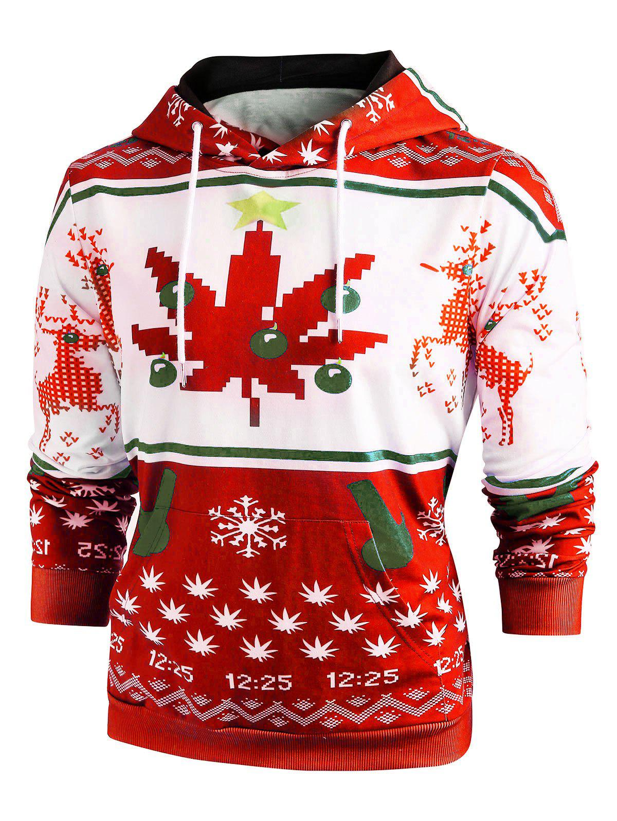 Christmas Snowflake Print Long Sleeve Hoodie - RED 2XL