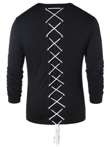 Long Sleeve Lace Up Casual T-shirt