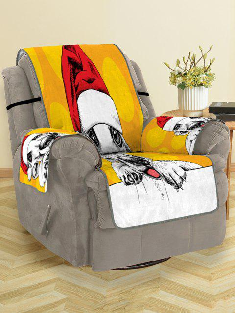 Christmas Dog Pattern Couch Cover - YELLOW SINGLE SEAT