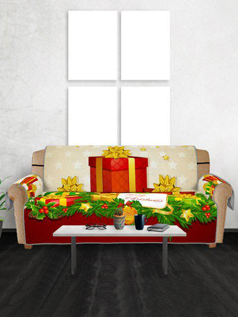 Christmas Gifts Pattern Couch Cover - RED THREE SEATS