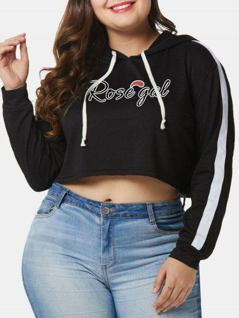 Plus Size Pullover Letters Cropped Hoodie