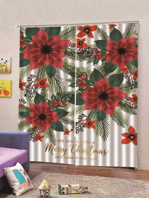 2PCS Flowers Pattern Waterproof Window Curtains - multicolor W28 X L39 INCH X 2PCS