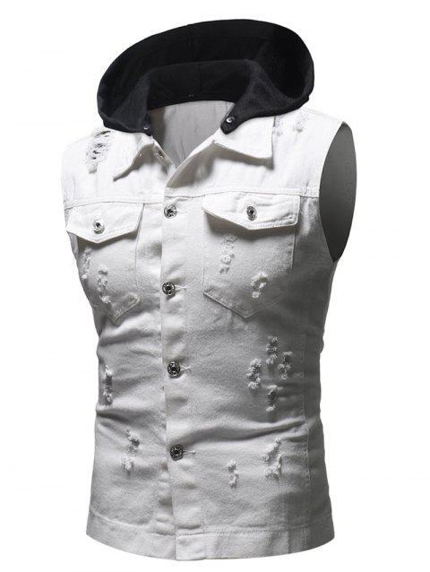 Hood Patchwork Sleeveless Ripped Washed Denim Vest - WHITE XL