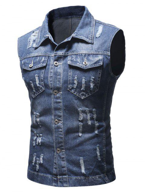 Solid Sleeveless Ripped Washed Denim Vest - DEEP BLUE XS