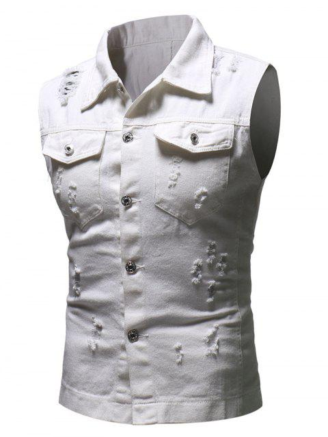 Solid Sleeveless Ripped Washed Denim Vest - WHITE XS