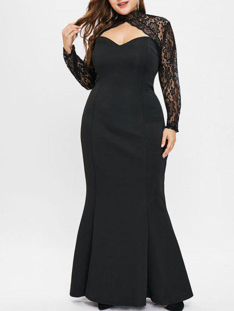 Plus Size Cut Out Lace Panel Mermaid Dress - BLACK 2X