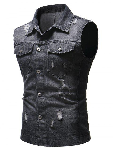 Solid Sleeveless Ripped Washed Denim Vest - BLACK XS