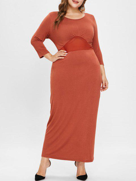 Plus Size Mesh Panel Round Neck Maxi Dress - HALLOWEEN ORANGE 1X
