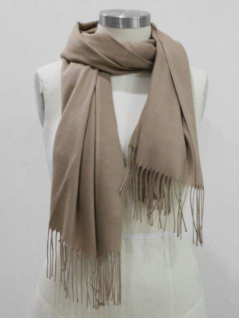 Winter Solid Color Warm Fringed Shawl Scarf - CAMEL BROWN