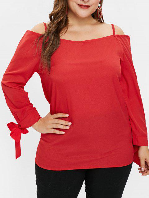 Plus Size Cold Shoulder Cami Blouse with Ties - RED 1X