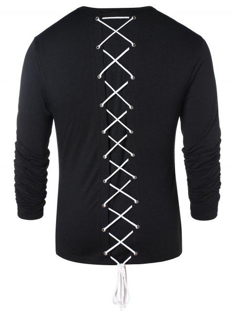 Long Sleeve Lace Up Casual T-shirt - BLACK M