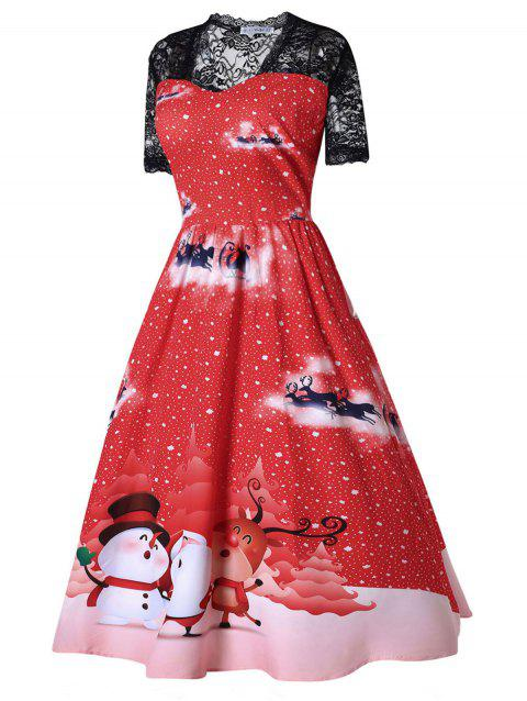 76% OFF] 2019 Plus Size Printed Midi Christmas Dress In RED   DressLily