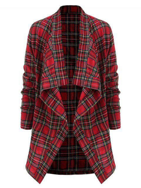 Elbow Patch Waterfall Plaid Shirt - RED L