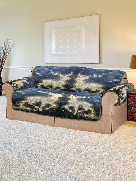 Christmas Elk Pattern Sofa Cover - GOLD TWO SEATS
