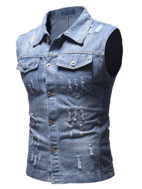 Solid Sleeveless Ripped Washed Denim Vest - LIGHT BLUE S
