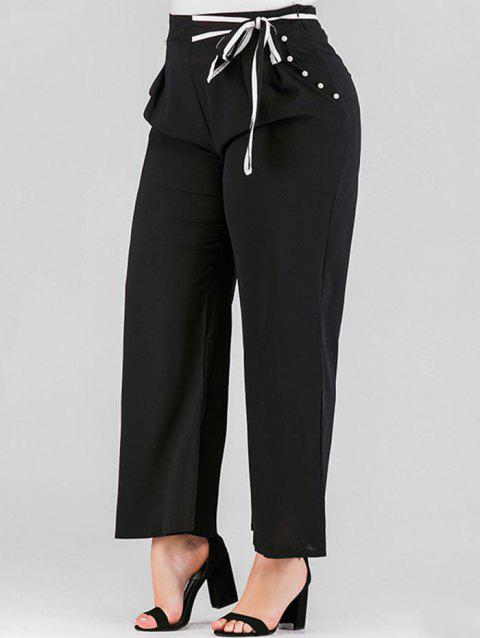 Plus Size High Waisted Tie Pants with Faux Pearls - BLACK 3X