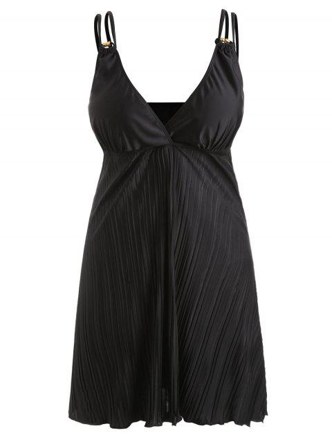 Plus Size Empire Waist Pleated Tankini Set - BLACK 2X