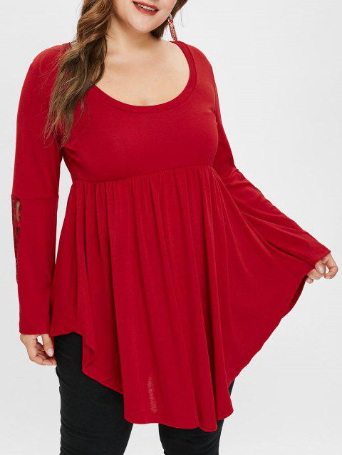 d0c105c438b 50% OFF  2019 Plus Size High Low Lace Panel Tee In RED