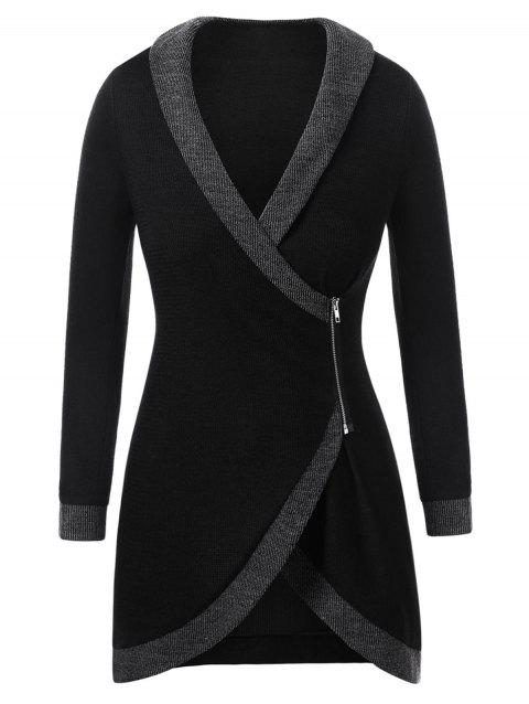 Plus Size Contrast Trim Asymmetrical Cardigan - BLACK L