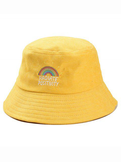 Rainbow Embroidery Corduroy Bucket Hat - YELLOW