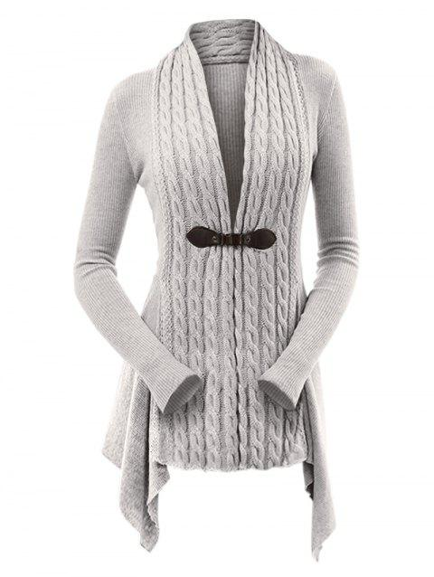 Cable Knit Buckle Asymmetrical Cardigan - LIGHT GRAY M