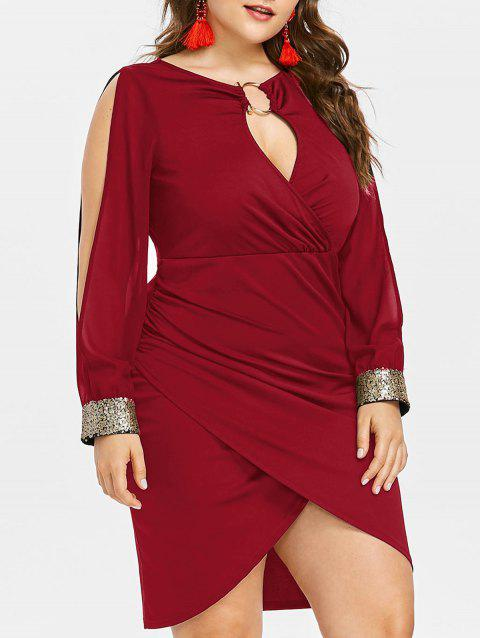Slit Sleeve Plus Size Sequin Embellished Bodycon Dress - RED WINE 2X
