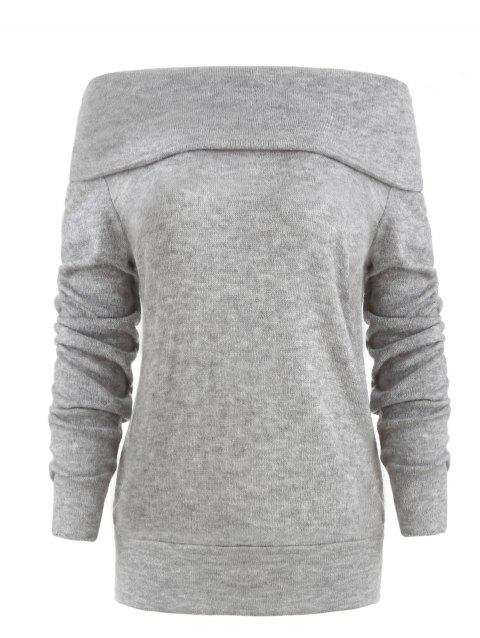 Off The Shoulder Pullover Sweater - LIGHT GRAY M