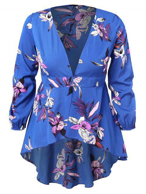 0b40214c708dc LIMITED OFFER  2019 Plus Size Plunging Neck High Low Blouse In BLUE ...
