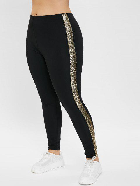 Plus Size High Waisted Sequined Leggings - BLACK 1X