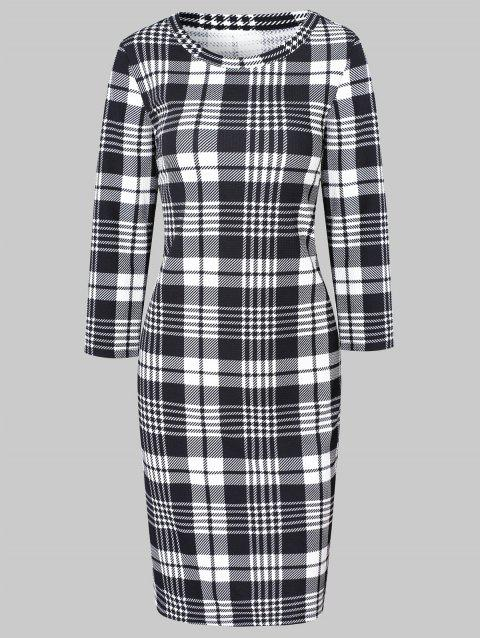 Plaid Long Sleeve Bodycon Dress - multicolor 2XL