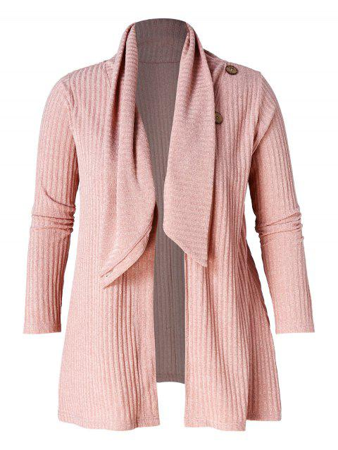 Plus Size Button Detail Ribbed Tunic Cardigan - PINK 1X