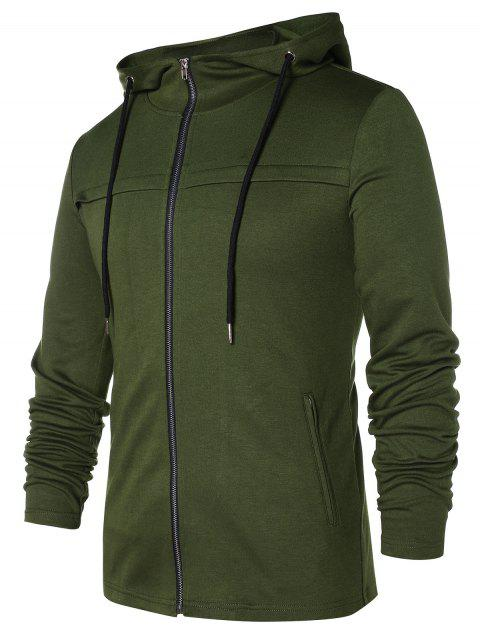 Front Pockets Zip Up Hoodie - ARMY GREEN M