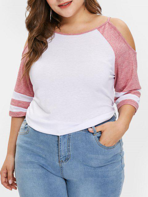 Plus Size Cold Shoulder Two Tone Tee - PINK 1X