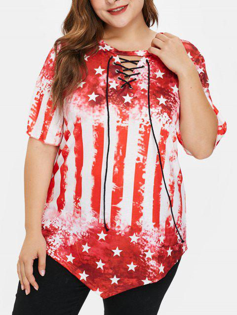 Plus Size Lace Up American Flag Tee - RED 1X