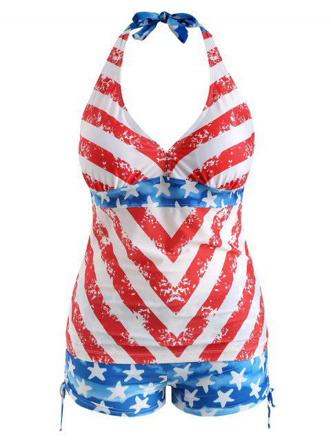 Plus Size American Flag Print Halter Neck Tankini Set - RED 1X