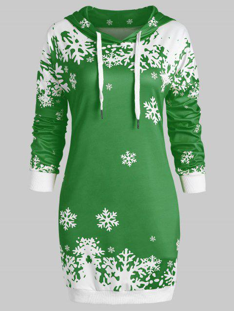 Plus Size Pullover Christmas Snowflake Longline Hoodie - GREEN L