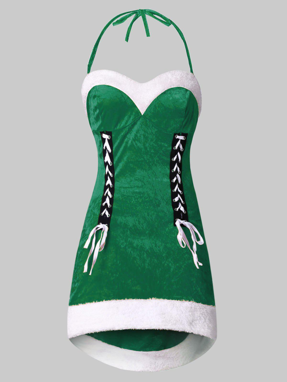 Plus Size Halter Backless High Low Christmas Dress - PINE GREEN L