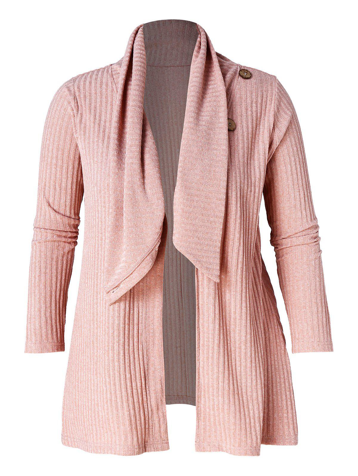 Plus Size Button Detail Ribbed Tunic Cardigan - PINK L
