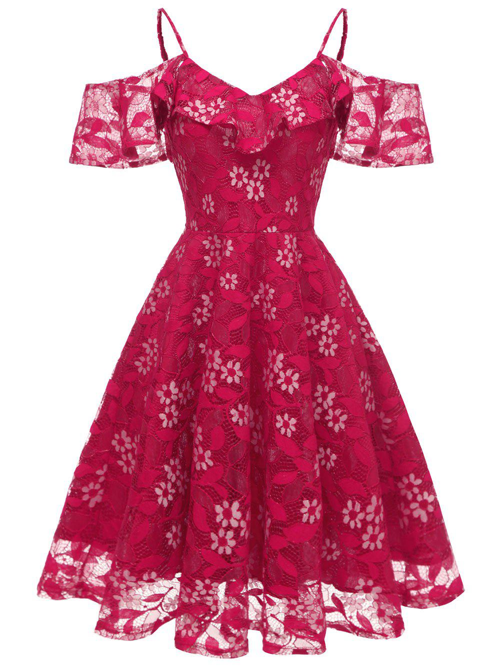 Robe de Cocktail à Epaule Dénudée en Dentelle à Volants - Rouge Rose 2XL