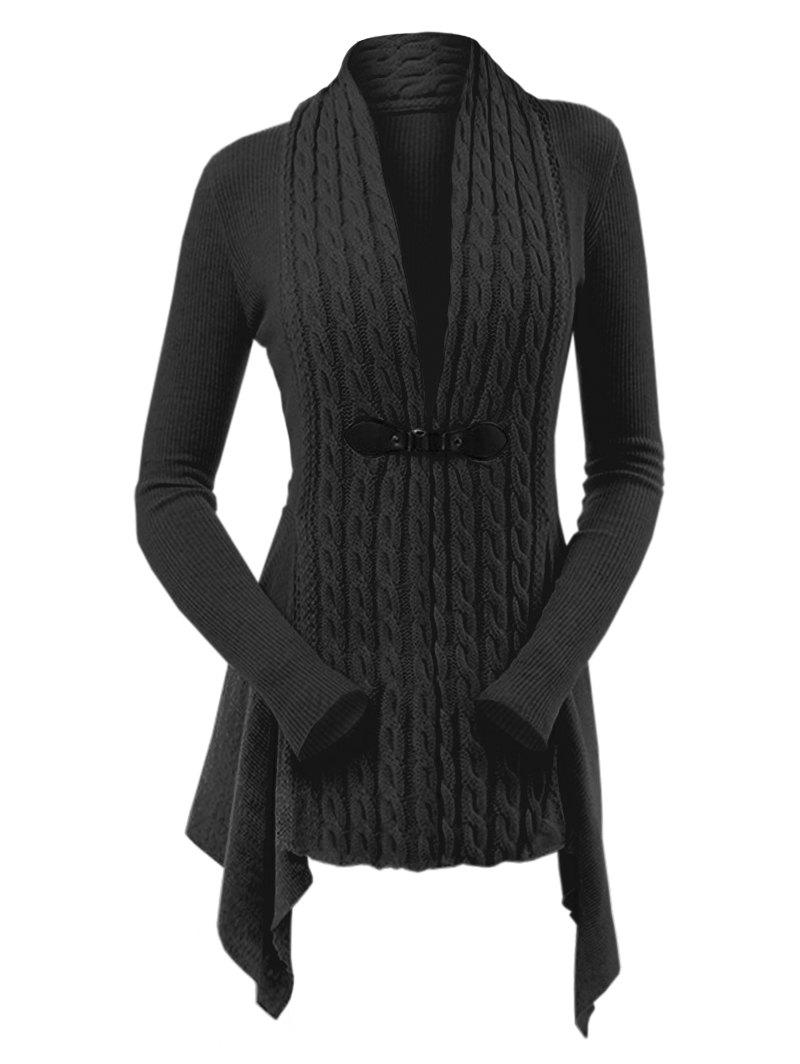 Cable Knit Buckle Asymmetrical Cardigan - BLACK 2XL
