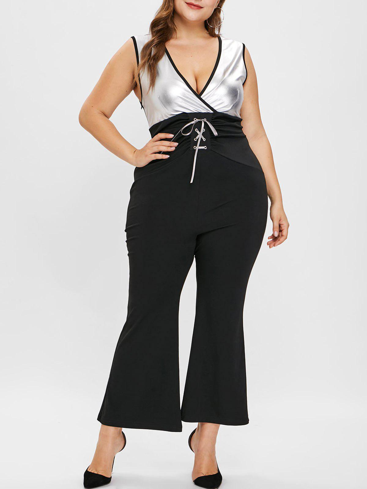 Plus Size Contrast Flare Jumpsuit with Lace Up - BLACK L
